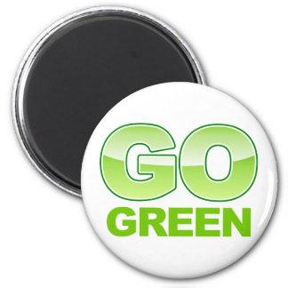 Go Green Logo 2 Inch Round Magnet