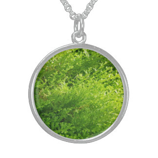 Go Green Natural Plant Silver Round Necklace