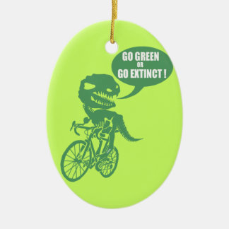 Go green or go extinct ceramic ornament
