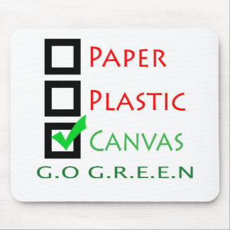 Go Green Paper Plastic Canvas Mouse Pad