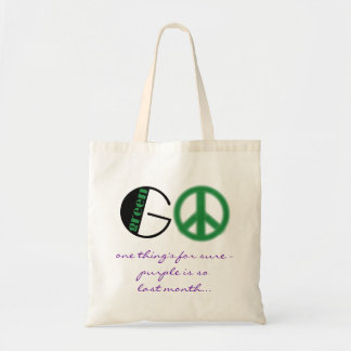 go green; peace sign tote bag