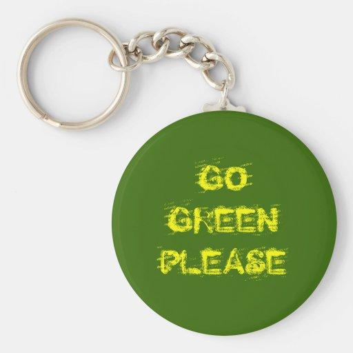 GO GREEN PLEASE BASIC ROUND BUTTON KEYCHAIN