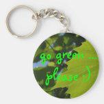 go green ... please :) basic round button keychain