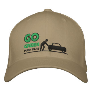 Go green push cars embroidered hat