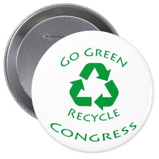 Go Green Recycle Congress Button