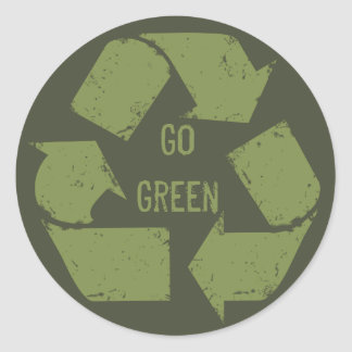 Go Green Recycle Logo Classic Round Sticker