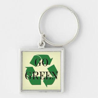 Go Green Recycle Symbol Keychain