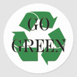 Go Green Recycle Symbol Round Sticker