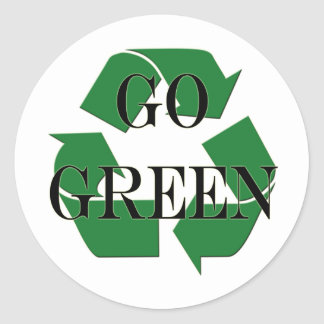 Go Green Recycle Symbol Classic Round Sticker