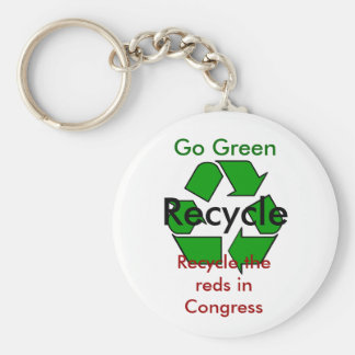 Go Green - Recycle the Reds in Congress Basic Round Button Keychain