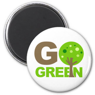 Go Green Recycle Tree 2 Inch Round Magnet