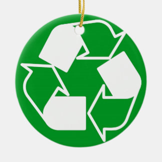 go green reduce recycle Double-Sided ceramic round christmas ornament