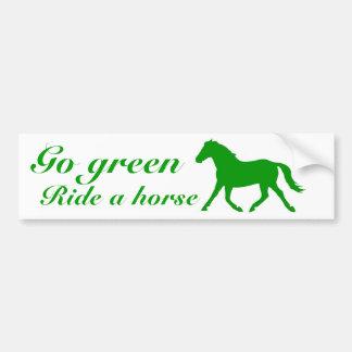 Go green, Ride a horse Car Bumper Sticker