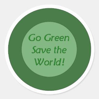 go green save world classic round sticker