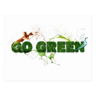 Go Green sign and splash Postcard