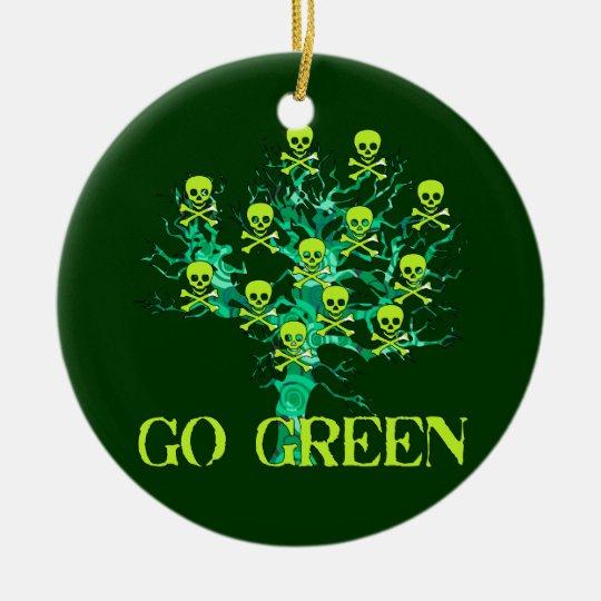Go Green Skulls Ceramic Ornament