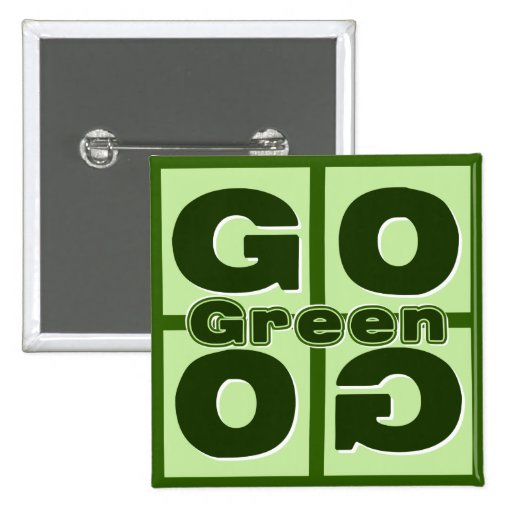 Go Green Square Pins