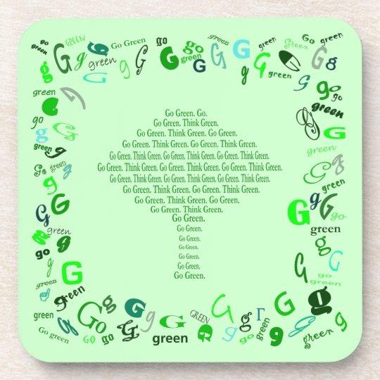 go green think green tree coaster