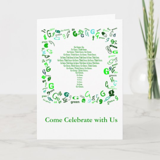 Go Green Think Green Tree In Letter G Invitation