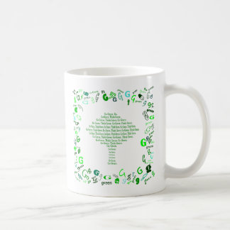 Go green. Think green. word tree design coffee cup