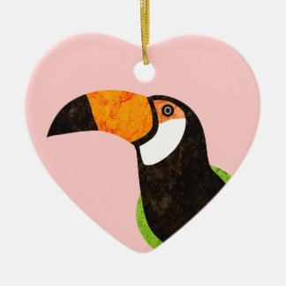 Go Green Toucan Toco Double-Sided Heart Ceramic Christmas Ornament