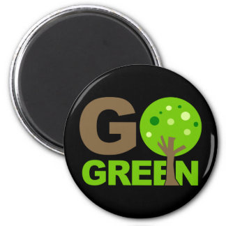 Go Green Tree Recycle 2 Inch Round Magnet