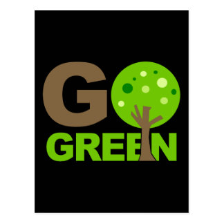 Go Green Tree Recycle Postcard