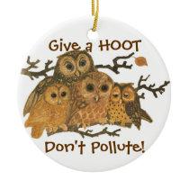Go Green! Vintage Owls Ornament Give a hoot