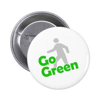 go green walk pinback button
