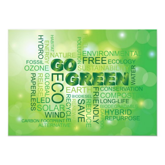 Go Green Word Cloud Invitation