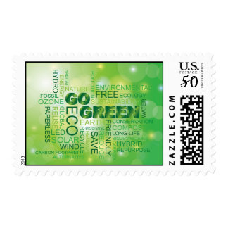 Go Green Word Cloud Postage Stamp