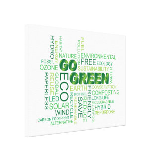 Go Green Word Cloud Stretched Canvas Print