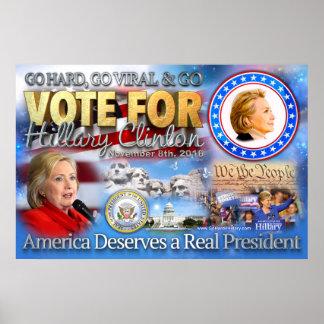 Go Hard for Hillary Original Poster Art