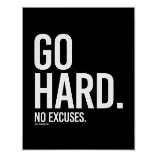 Go Hard - No Excuses -   Training Fitness -.png Poster
