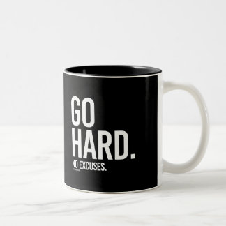 Go Hard - No Excuses -   Training Fitness -.png Two-Tone Coffee Mug