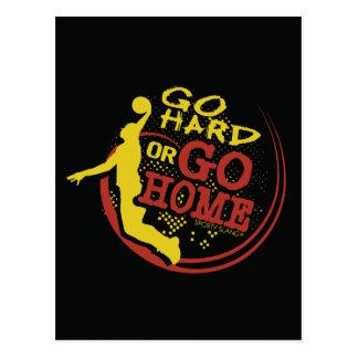 Go Hard or Go Home - Sporty Slang Basketball Postc Postcard