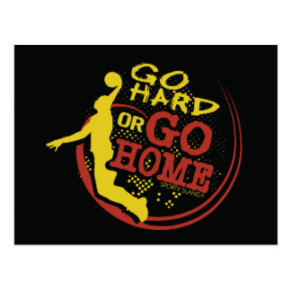 Go Hard or Go Home - Sporty Slang Basketball Postc Postcard