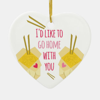 Go Home With You Double-Sided Heart Ceramic Christmas Ornament