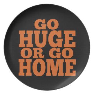 Go Huge or Go Home Orange Letters Dinner Plates