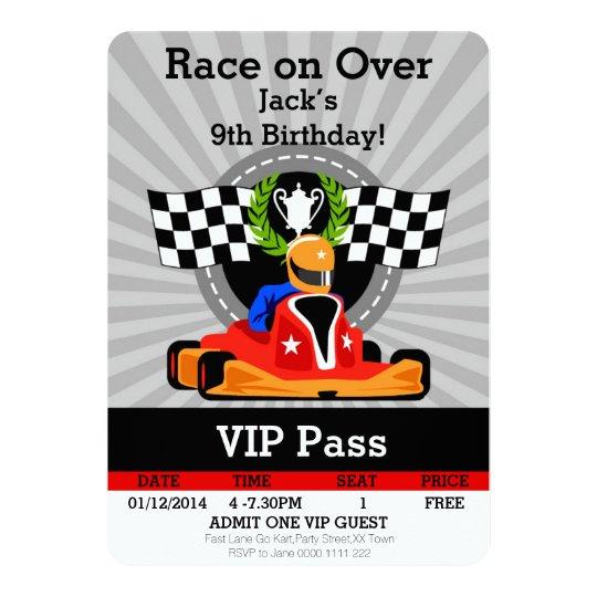 Go Kart Birthday Invitation Invitation Zazzlecom