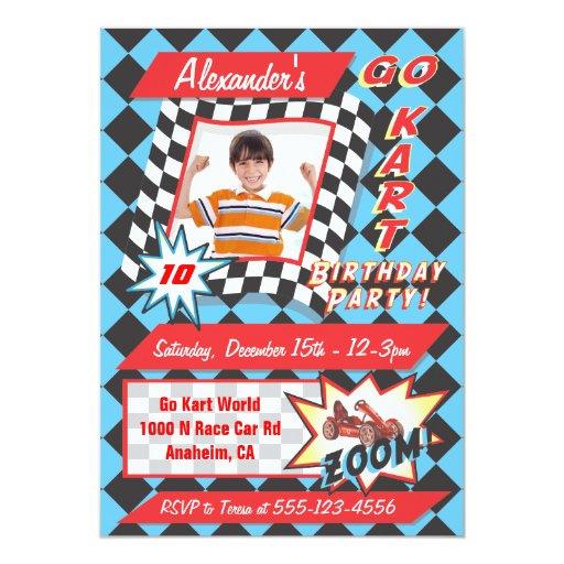 Go Kart Birthday Party Photo Insert Invitations