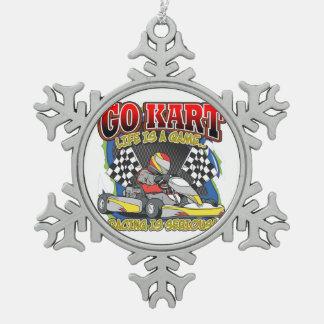 Go Kart Life Snowflake Pewter Christmas Ornament