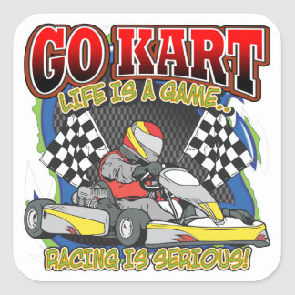 Go Kart Life Square Sticker
