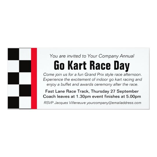 Go kart race day corporate group event invitation | Zazzle.com