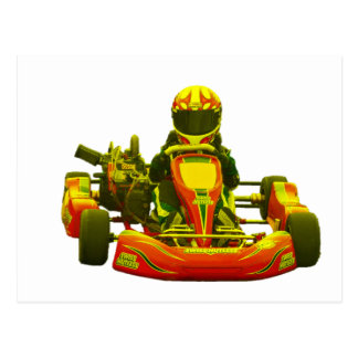 Go Kart Racer in Yellow Post Cards