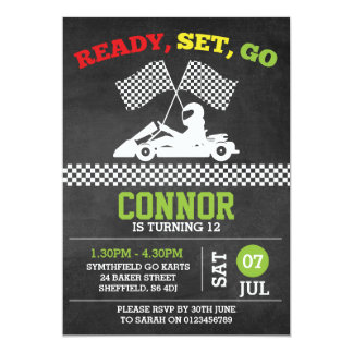 Go-Karting themed birthday party invitation