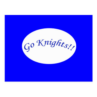 Go Knights! Curved Blue Text Blue Postcard