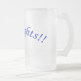 Go Knights! Curved Blue Text Frosted Glass Mug II