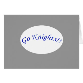 Go Knights! Curved Blue Text H Silvr Greeting Card