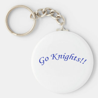 Go Knights! Curved Blue Text Keychain